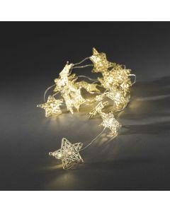 Ljusslinga 20 Guld Metallstjärnor Varmvita LED Batteri från Konstsmide