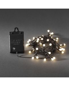 Ljusslinga 40 varmvita LED Sensor Timer 6/9h Svart Kabel Batteri från Konstsmide